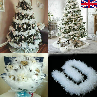 White Feather Boa 2 Metres Christmas snowy tree tinsel decoration wreath uk