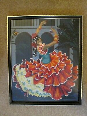 Large Vintage Retro Flamenco Dancer Lady Tango Needlepoint Tapestry Framed