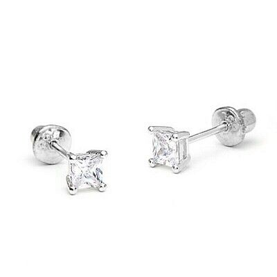 2 mm Princess Diamond Tiny Stud Screw back Earrings ~14k White gold ~ Gift box