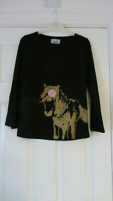 Girls Requisite Designer Long Sleeved T-Shirt-Black With Detailed Front -146/152