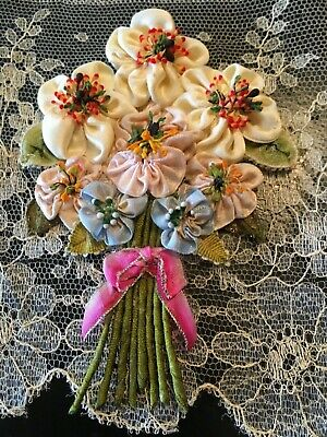 """ANTIQUE Unused FRENCH RIBBON WORK BOUQUET-BREATHTAKING COMPOSITION~5"""" X  3-5/8"""""""