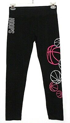 Vgc JUSTICE ACTIVE Black BASKETBALL HooPs LEGGINGS Girls 20 Stretch Skinny