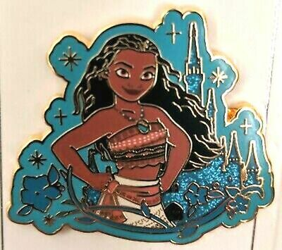 Disney Parks 2019 Princess Glitter Castle Moana Pin New on Backer Card