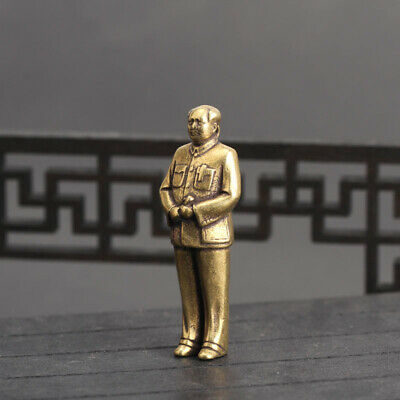 Chinese old antique Collection Asian Brass Chairman Mao Exquisite statue