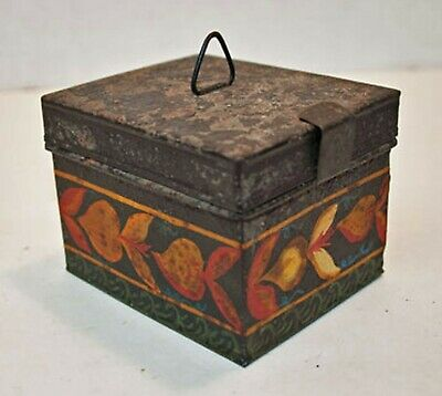 1840's Decorated Tin Toleware Box Hand Painted Pennsylvania Dutch