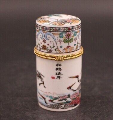 Chinese handwork porcelain painting crane toothpick box 松鹤延年