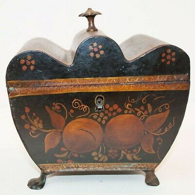 Antique 1830's Georgian Period Toleware Hand Painted Decorated Tea Caddy