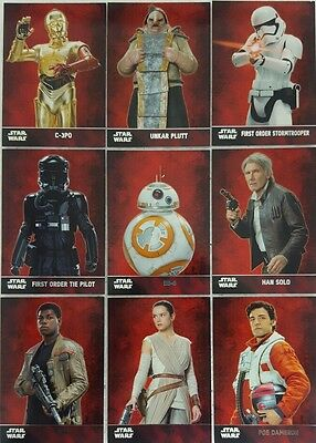 Star Wars FORCE AWAKENS  TRADING CARD SET of 100 Silver Foil  SERIES  1    2015
