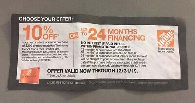 HOME DEPOT Coupon 10% Off or 24 Months Financing Exp 12/31/19 in-store or online
