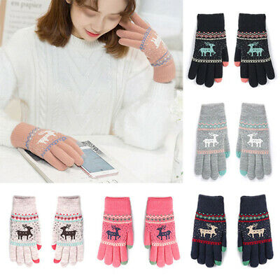 Touch Screen Knitted Gloves Thicken Warm Full Finger Mittens for Women #