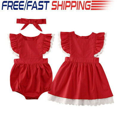 Little Big Sister Toddler Kid Baby Girl Romper Outfit Christmas Dress Clothes