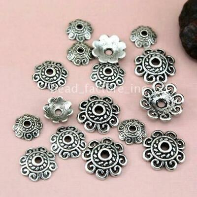5pcs tibetan silver tone  30mm round shaped flower connector h3474