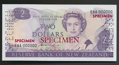 New Zealand: 1981 $2 Hardie SPECIMEN,  Type II, UNC, EAA 000000, VERY RARE