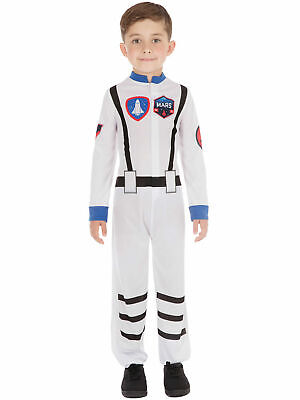 Kids Astronaut Costume Girls Boys Spaceman Childs Fancy Dress Book Day Outfit