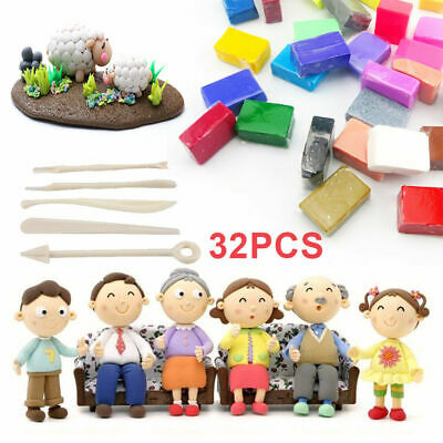 32 Mixed Colors Oven Bake Fimo Polymer Soft Clay Modelling Moulding DIY Toys NEW