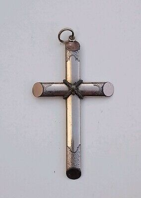 Fabulous Large Antique Victorian French Rolled Gold Cross Crucifix Pendant