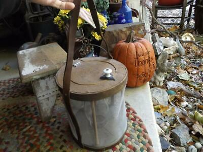 Primitive Vintage Hand Made Cricket Box Candle Lantern Bentwood Leather Tin Wire