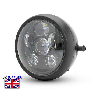 Motorbike Headlight Black Metal 6.5 inch 12V LED Project Retro Cafe Racer Streetfighter