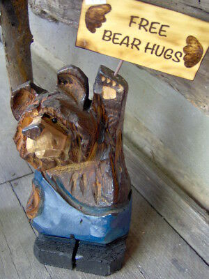 Chainsaw Bear Carving Wood Carved Bear Black Bear Carving Overalls Choose Sign