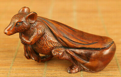chinese old boxwood hand carved mouse wealth statue figure home decoration