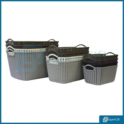 Laundry Storage Basket Plastic Crate School Office Kitchen Tidy Organiser