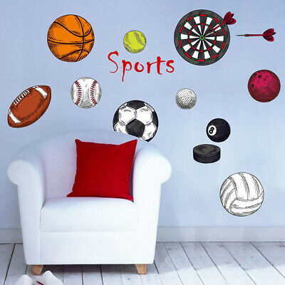 Child Sport Wall Sticker Basketball Football Removable Decal Bedroom Game Room