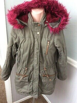 Matalan Girls Khaki Parka Style Hooded Faux Fur Lined Coat Age 13 Yrs