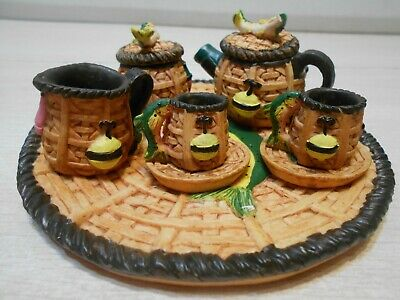 Basket Shaped Miniature Tea Set For 2 1995 Collectible Resin 10 PC Tea Set
