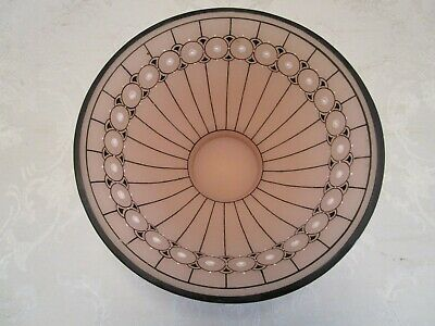 ART DECO 1930'S CZECH HAND PAINTED Enameled ART GLASS BOWL Frosted Pink Vtg