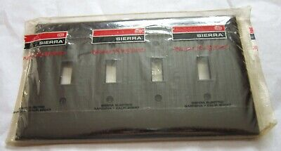 Sierra 4 Gang Toggle Switch Brown Ribbed Wall Plate in Original Packaging