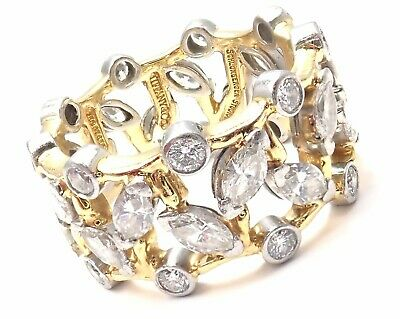 Authentic! Tiffany & Co Schlumberger Vigne 18k Gold Platinum Diamond Band Ring