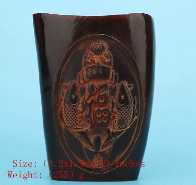 Precious Chinese Yak Horn Wine Cup Hand-Carved God Wealth Mascot Decoration Gift