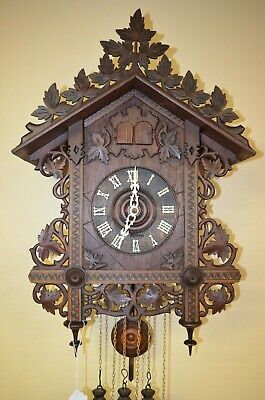 ANTIQUE GERMAN BLACK FOREST FALLER QUAIL TRAIN STYLE CUCKOO CLOCK early 1900's