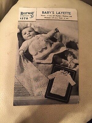 """2 Ply Vintage Bestway Baby Layette KNITTING PATTERN 1370  Fits 18"""""""