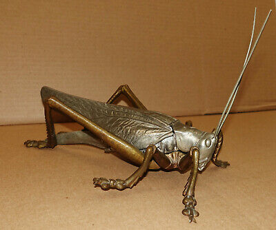 Antique Rare Art Nouveau Bronze Pewter French Figural Grasshopper Inkwell Statue
