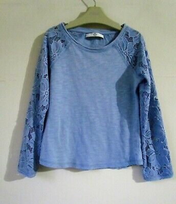 MARKS & SPENCER M&S Girls Blue Lace Sleeve Top age 6-7