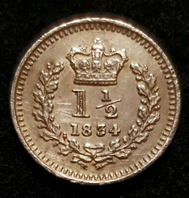 High Grade 1834 William Iv Three-Halfpence Very Good Detail Rare Thus Spink 3839