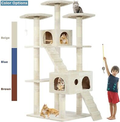 """73"""" Cat Tree Scratcher Play House Condo Furniture Bed Post Pet House Beige"""