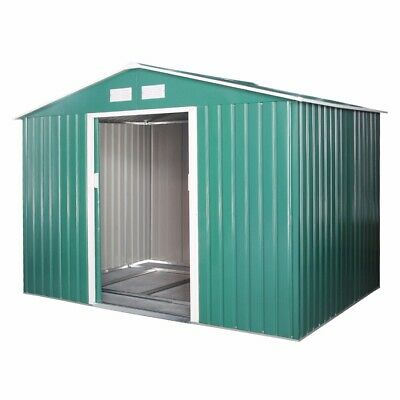 Green Metal Garden Storage Shed Apex Roof  Free Foundation Outdoor Large 9x6 UK