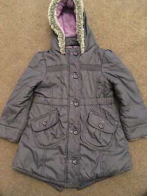 Girls M&S Grey & Lilac Winter Coat Size 3-4 Years In Good Used Condition