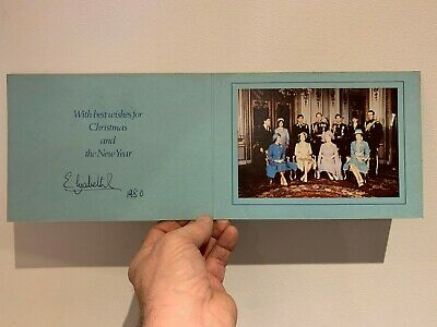 Royal Christmas Card Hand Signed by HRH Queen Elizabeth R 1980