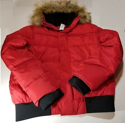 Express Quilted Faux Fur Hooded Men's Bomber Jacket - Large - Red  New w/ tags
