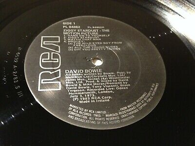 DAVID BOWIE - Ziggy Stardust The Motion Picture - 1983 IRISH/ IRELAND RCA LP NM