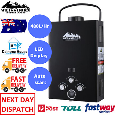 Weisshorn Gas Hot Water Heater Portable Shower Camping LPG Caravan Outdoor 4WD