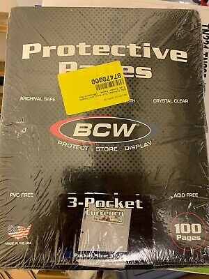 100 Box of BCW 3-Pocket Currency Album Pages dollar bill coupon binder sheets.