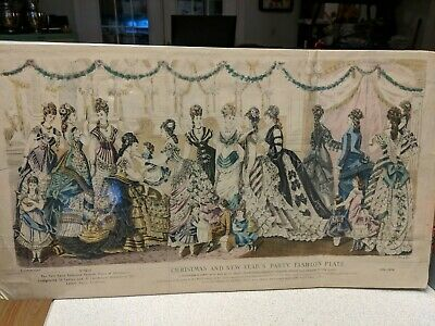 Vintage victorian art Christmas/New Year's Party Fashion. Original.