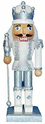 Wooden Nutcracker King Traditional Silver and White Glitter Jacket Crown 10 Inch