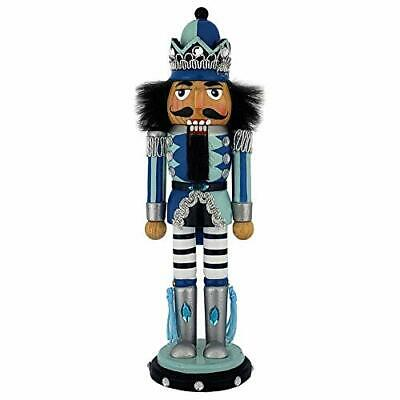 Wooden Nutcracker King with Blue, Turquoise, and Silver Jacket and Crown 10 Inch