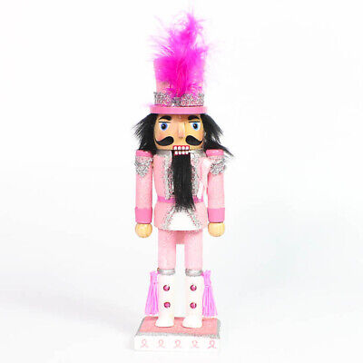 Wooden Pink Breast Cancer Support Nutcracker Pink Rhinestones 10 Inch