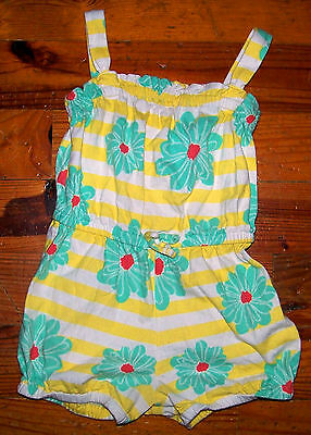 Girls BABY GAP White Yellow Green Pink Flower One-Piece Outfit Size 4 Years